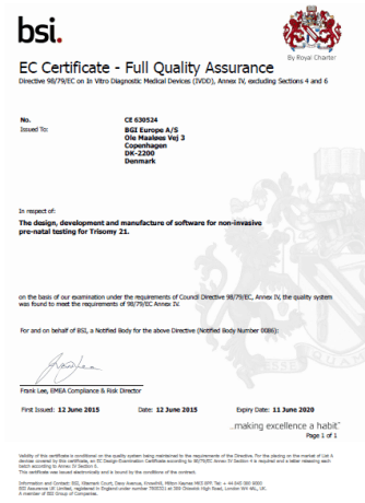 Certyfikaty jakości badań - test NIFTY Pro